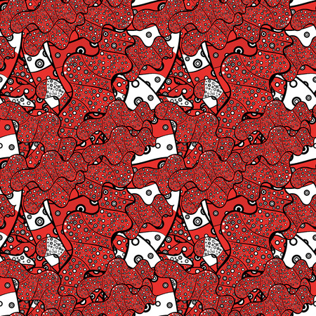 Seamless Abstract Retro Background Design. Vector. Tender fabric pattern. Pattern. Orange, red and black on colors. Illustration