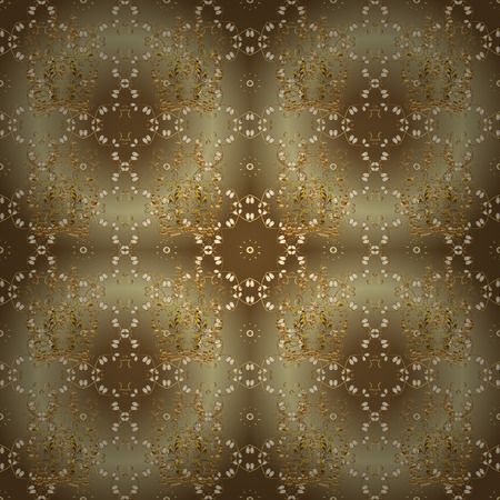 Seamless medieval floral royal pattern. Vector illustration. Decorative symmetry arabesque. Gold on brown and beige colors. Good for greeting card for birthday, invitation or banner.
