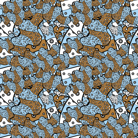 Seamless pattern Beautiful fabric background. Vector texture. Doodles on a black, blue and brown colors. Illustration.