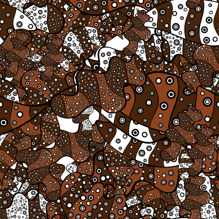 Seamless Gentle, spring on brown, white and black colors. Vector - stock. Modern stylish texture. Illustration