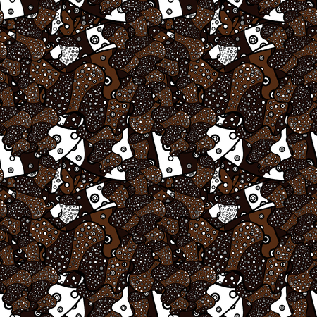 Abstract ethnic vector seamless pattern. Background texture, sketch, theme in white, black and brown colors. Tribal art print, vintage background. Ilustração