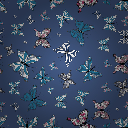 Pictures in white, black and blue colors. Beautiful butterfly vector pattern illustration design.