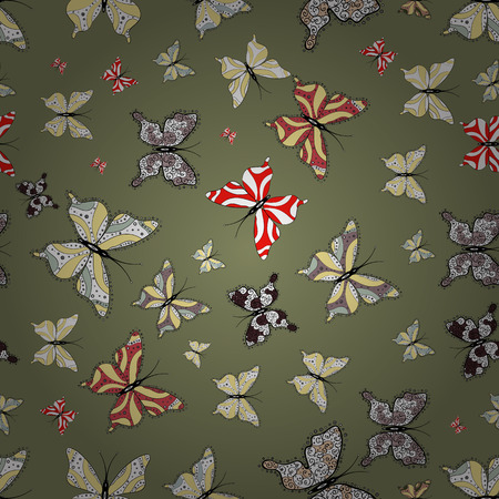Seamless. Brown, white and yellow butterflies. Exotic animals. Superb background for design of fabric, paper, wrappers and sketch. Vector illustration.