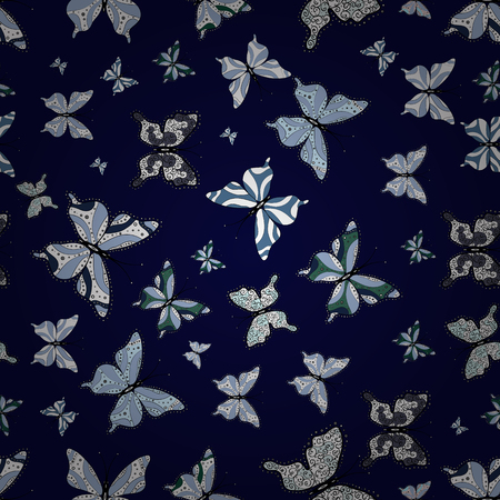 Seamless floral summer pattern background on black, blue and white colors. Perfect for sketchs, web page backgrounds, surface textures, textile. Vector. Pictures witg tropical butterflies. Ilustracja