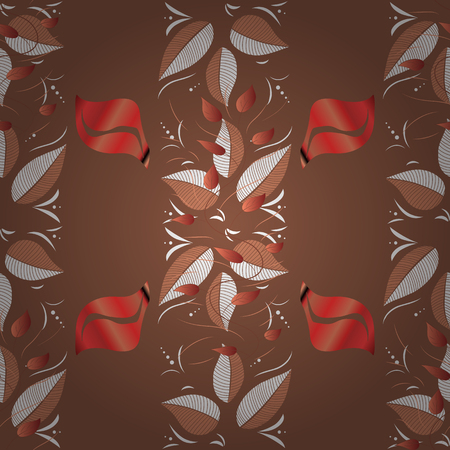 Flowers on brown, orange and white colors. Vector floral pattern in doodle style with flowers. Gentle, tender floral background.