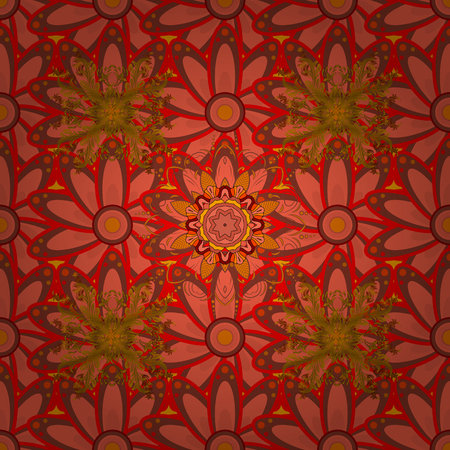 Seamless Floral Pattern in Vector illustration. Flowers on orange, brown and red colors in watercolor style.