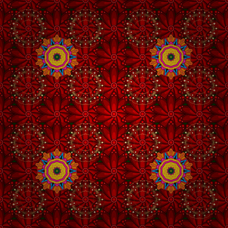 Seamless flowers pattern. Flowers on red, brown and orange colors. Vector illustration. In asian textile style. Vector illustration.