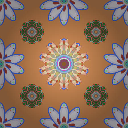 For print on fabric, textiles, sketch. Vector design. Seamless pattern with colorful paisley, orange, gray and neutral flowers and decorative elements. Vintage retro style. Seamless background.
