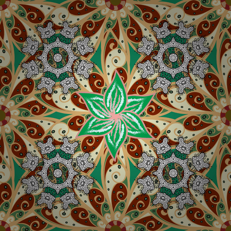 Vector abstract pattern. Hand-drawn colored mandala on a beige, brown and green colors.