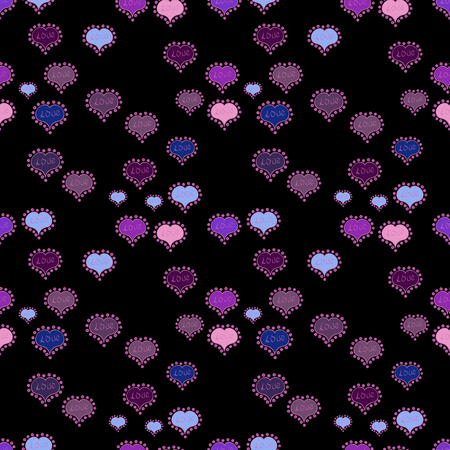 Drawing in sketch style on black, pink and purple colors. Seamless Love doodle romantic background vector with hearts. Valentine:s day. Wrapping paper. Vector. Wedding and invatation card concept.