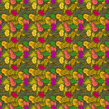 Seamless Beautiful fabric pattern. Doodles brown, yellow and black on colors. Vector. Ilustração