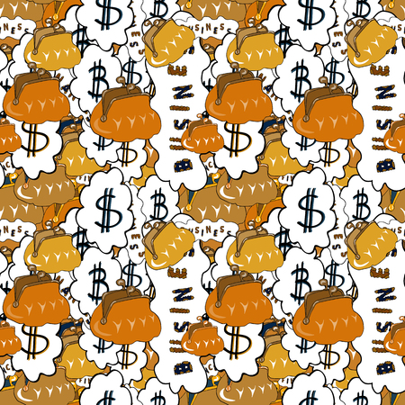 Bitcoin. Dollars. Vector. Business pattern on yellow, white and orange background. Seamless business pattern. Illustration