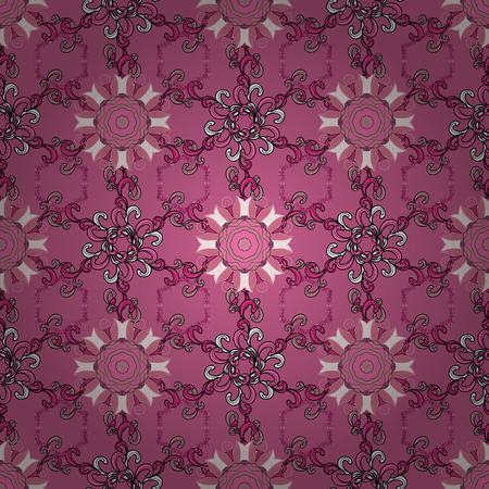 Fabric pattern texture daisy flowers detail. Flowers on pink, black and white colors.  イラスト・ベクター素材