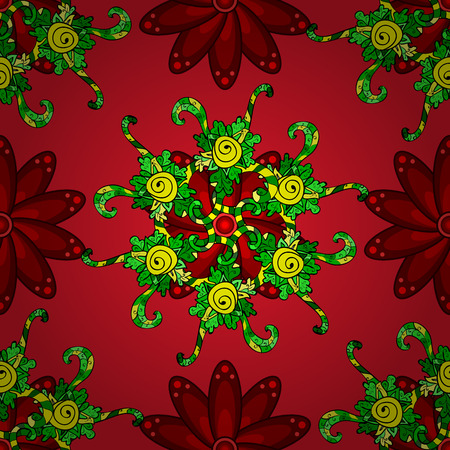 Gentle, summer floral background. Vector floral pattern in doodle style with flowers. Flowers on black, green and red colors.