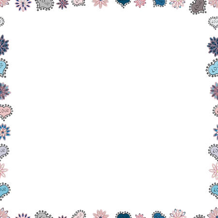 Vector. Picture in white, blue and neutral colors. Quadratic frames doodles. Seamless.