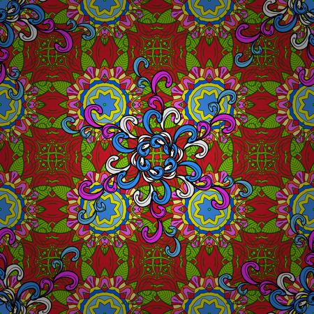 Flowers pattern. Seamless Chichi fabric pattern. Flat Flower Elements Design. Vector illustration. Colour Spring Theme seamless pattern Background. Ilustração