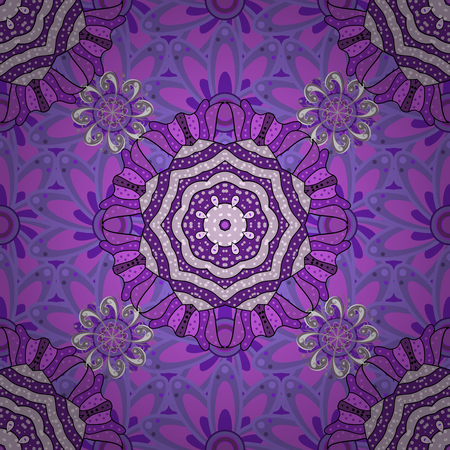 Watercolor hand painting of abstract violet, neutral and purple flowers, seamless pattern vector background.