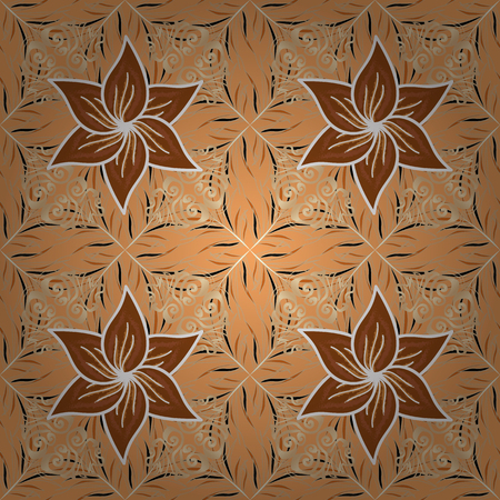 Gentle, spring floral background. Flowers on yellow, beige and brown colors. Vector floral pattern in doodle style with flowers.