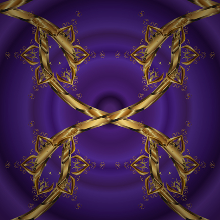 Vector seamless pattern on purple and violet colors with golden elements. Damask seamless pattern for design.