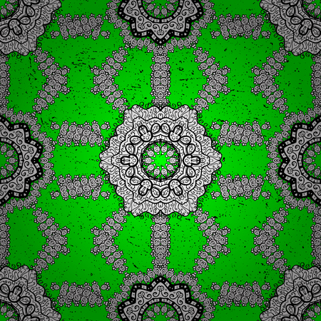 Vintage design element in Eastern style. Vector pattern with floral ornament. Ornamental lace tracery. White ornate illustration for sketch. Traditional arabic decor on green background.