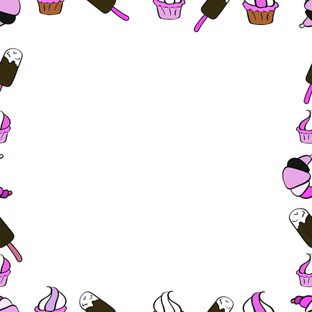 Doodles frame consists of white, brown and pink border. Vector Background seamless pattern with hand drawn Frame doodle. Seamless pattern.