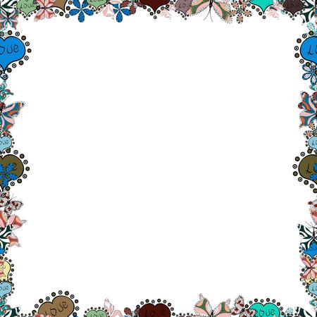 Vector illustration. Seamless pattern. Illustration in blue, black and white colors. Square frames doodles.