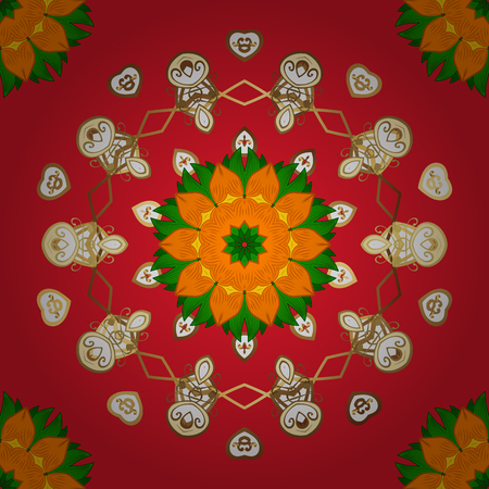 Elegant vector texture with floral elements. Abstract seamless pattern on red, orange and green colors with bright flowers. Cute floral pattern in the small flower.
