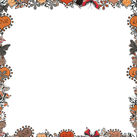 Illustration in orange, gray and white colors. Seamless pattern.Hand drawn doodle frames. Vector illustration.