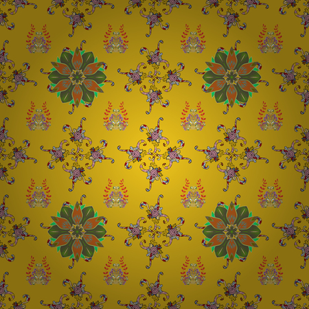 Floral seamless pattern with watercolor flowers. Vector illustration. In nice textile style on yellow, black and green colors.