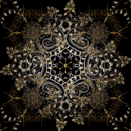 Hand drawn decorative frame, album cover, greeting card, vintage Art deco style. Vector abstract floral wreath from golden doodle fantasy leaves and flower on a black and gray colors.
