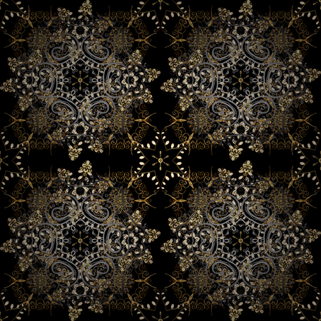 Oriental style arabesques golden pattern on a gray and black colors with golden elements. Vector golden pattern. Seamless textured curls.
