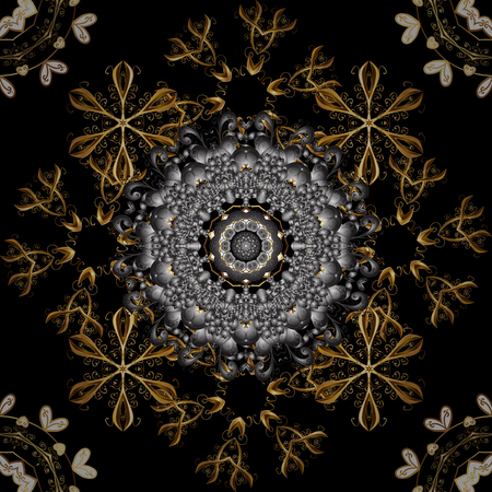 Golden seamless pattern on gray and black colors with golden floral elements. Vector geometric background. For your design, sketch. Golden color seamless illustration.