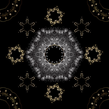 Symbol of winter, Merry Christmas holiday, Happy New Year 2019. Golden snowflake simple seamless pattern. Abstract sketch, wrapping decoration. Vector golden pattern on gray and black colors.