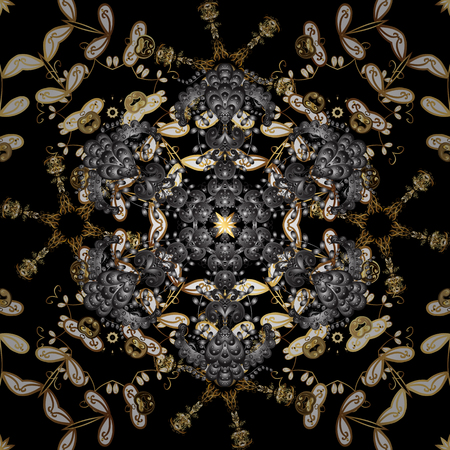 Floral ornament brocade textile pattern, glass, metal with floral pattern on gray and black colors with golden elements. Classic vector golden seamless pattern.