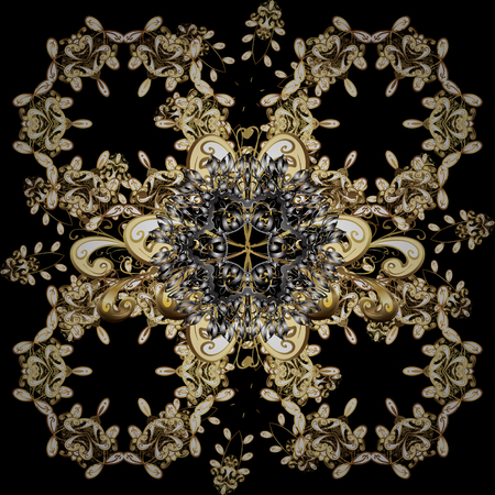 Vector oriental ornament. Seamless pattern on brown and black colors with golden elements. Seamless golden pattern.