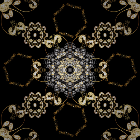 Furniture in classic style. Seamless element woodcarving. Carving. Pattern on black and gray colors with golden elements. Patina. Luxury furniture. Black and gray backdrop with gold trim. Ilustração