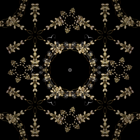 Vector illustration. Seamless golden textured curls. Brown and black colors with gold elements. Oriental style arabesques. Vector golden pattern.