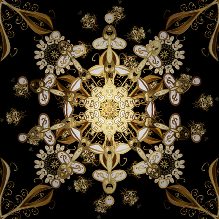 Floral ornament brocade textile pattern, glass, metal with floral pattern on brown and black colors with golden elements. Classic vector golden seamless pattern.