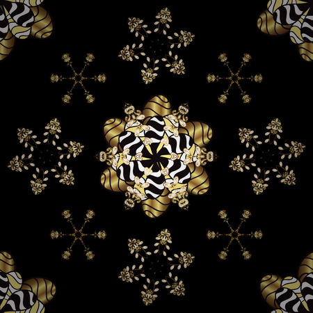 Vector abstract background with repeating elements. Seamless damask classic golden pattern. Vector illustration. Golden seamless pattern on black and yellow colors with golden elements.