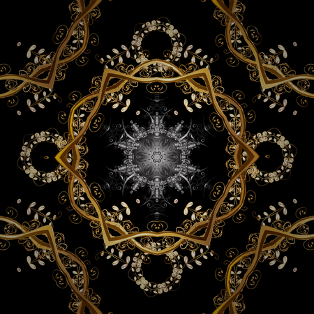 Ornate vector decoration. Seamless damask pattern background for sketch design in the style of Baroque. Golden pattern on black and brown colors with golden elements.
