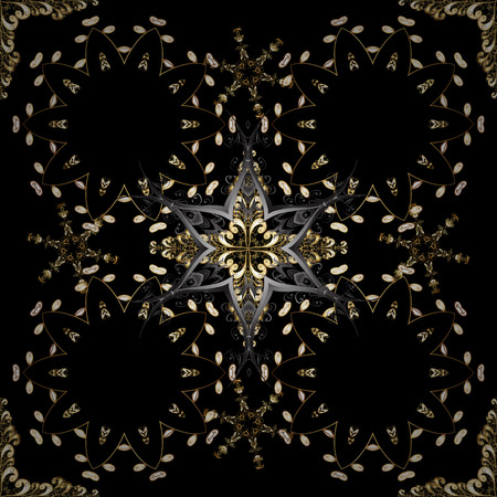 Gold on black and gray colors. Vector illustration. Good for greeting card for birthday, invitation or banner. Decorative symmetry arabesque. Seamless medieval floral royal pattern.