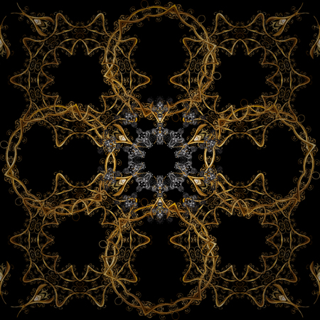 Christmas, snowflake, new year. Seamless vintage pattern on black and brown colors with golden elements. Golden seamless pattern on black and brown colors with golden elements.