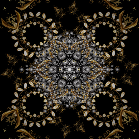 Seamless floral pattern. Sketch baroque, damask. Graphic modern seamless pattern on gray and black colors. Seamless vector background.