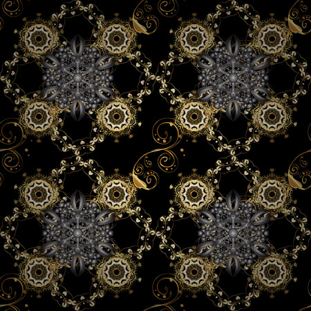 Golden pattern on black and gray colors with golden elements. Seamless pattern oriental ornament. Floral tiles. Islamic design. Vector golden textile print.