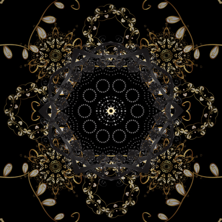 Flat hand drawn vintage collection. Vector golden seamless pattern. Backdrop, fabric, gold sketch. Golden pattern on black and gray colors with golden elements.