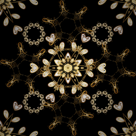 Oriental style arabesques. Vector. Brilliant lace, stylized flowers, paisley. Openwork delicate pattern. Seamless golden texture curls. Seamless pattern on black and brown colors with golden elements.