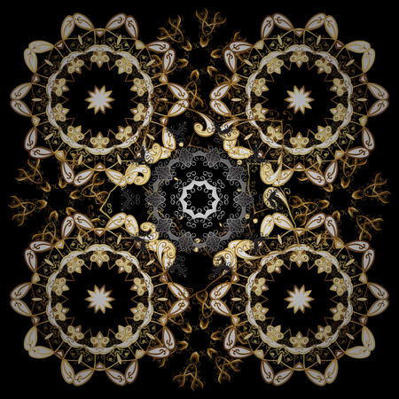Seamless oriental classic golden pattern. Vector abstract background with golden repeating elements on a brown and black colors.