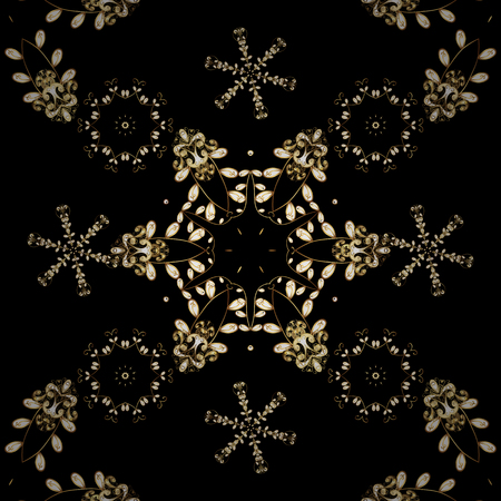 Seamless floral pattern. Sketch baroque, damask. Seamless vector background. Graphic modern seamless pattern on black and brown colors.