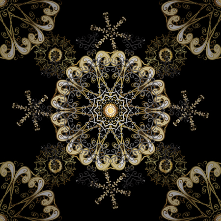 Beige and black colors with golden elements. Gold metal with floral pattern. Seamless golden pattern. Vector golden floral ornament brocade textile and glass pattern. Иллюстрация