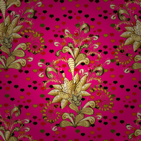 Gold floral ornament in baroque style. Antique golden repeatable sketch. Golden element on brown, yellow and magenta colors. Damask seamless repeating pattern. Иллюстрация